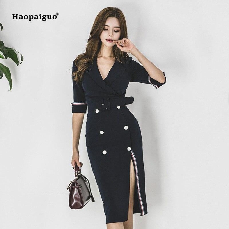 Plus Size Pencil Dress 18 Women Blue Half Sleeve Notched Knee-length Korean Work Suit Dress Autumn Wrap Button Dresses Ladies 1