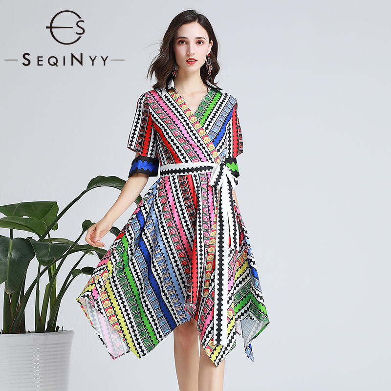 SEQINYY Fashion Dress 19 Summer New Fashion Design Half Sleeve Colorful Flowers Plaid Printed Midi Dress Women 1