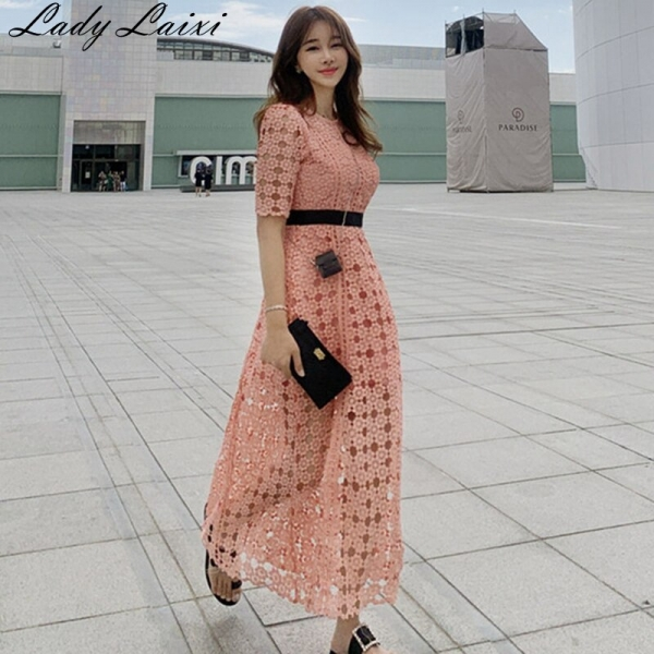 High Quality Runway pink Lace Dress 19 Autumn Women Half Sleeve O-Neck Hollow Out Crochet Slim Prom Office Party Long Dress