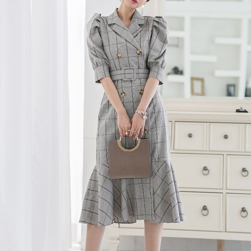 Vintage Double-breasted Suit Collar Plaid Dress Women Summer Half Sleeve Sashes Dresses Elegant Office Ladies Dresses vestidos 1