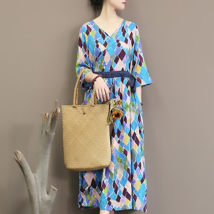 Spring Autumn Geometric Printing Dress Half Sleeve Sexy V Neck Dress Loose Long Dress 2