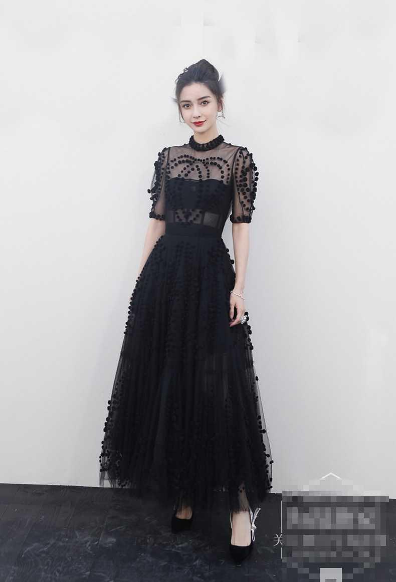 Runway Women Mesh Ball Gown Party Long Dress 19 Spring Sexy Black Ball Half Sleeve Slim Boho Dress Elegant Vestidos 3