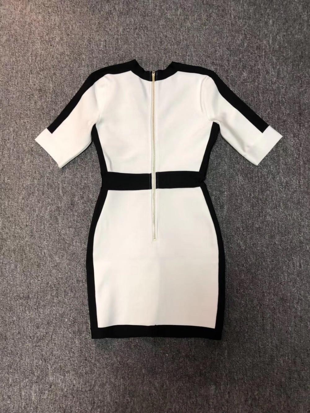 Women Sexy V Neck Half Sleeve Bandage Dress 19 Ladies Elegant Designer Bodycon Bandage Dress 3