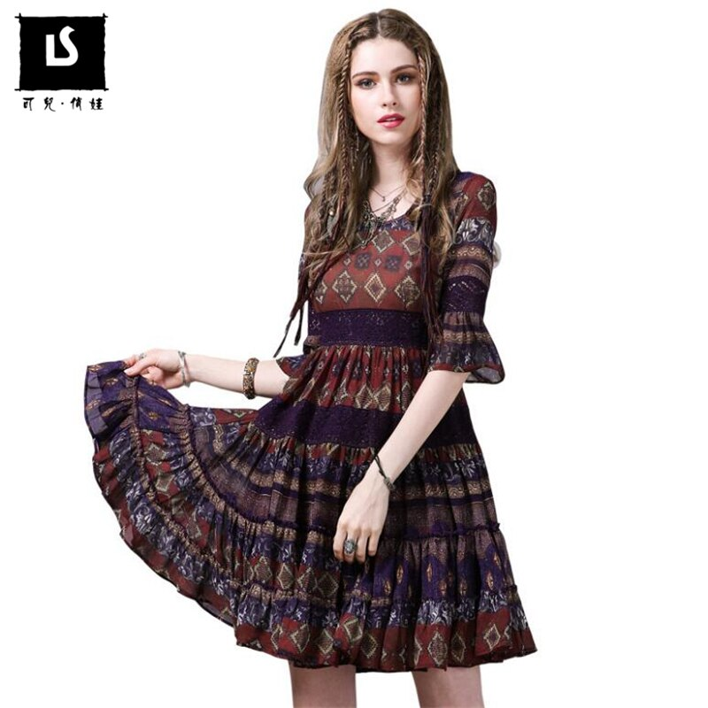 Fashion Printed Summer Chiffon Dress Vintage Half Sleeve Stitching Party Sexy Dress Women Beach Speaker sleeves Dresses vestido