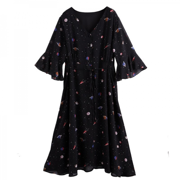 TwoHexa Summer Women Flare Half Sleeves Dress Women V-neck Chiffon Print Sexy Dress Female Plus size 4XL 5XL 6XL 7XL 8XL 9XL 10X