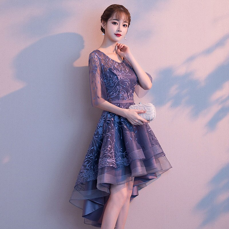 Blue Floral Appliques O-Neck Half Sleeve Front Short Back Long Women Sexy Dresses For Party Night Club Slim Elegant Dress 18 2