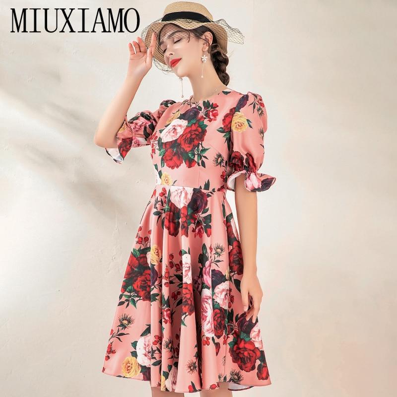 MIUXIMAO High Quality 19 Fall&spring Dress Luxurious Vintage Flare Sleeve Flower Print Elegant Casual Dress Women Vestidos 1