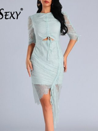 Gosexy 19 Vestidos New Women Sexy Fashion Drawstring Hollow Out Half Sleeves Ruched Lace Bodycon Party Club Dress