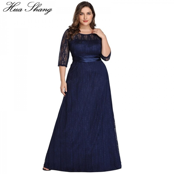 Lace Party Dress Plus Size Women 19 Fashion Female Half Sleeve High Waist Formal Party Dress Floor Length Long Maxi Dresses