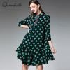 XL - 4XL Plus Size Chiffon Dress 19 Summer Dress Women Green Plaid Print Half Sleeve Loose Dress Elegant Ruffles Midi Dresses