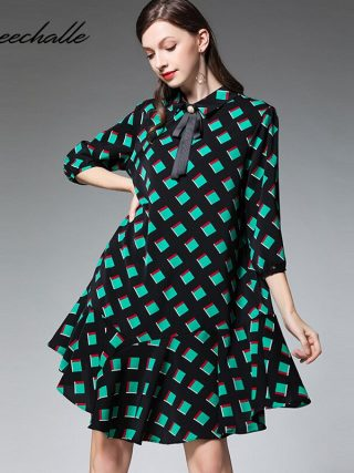 XL - 4XL Plus Size Chiffon Dress 19 Summer Dress Women Green Plaid Print Half Sleeve Loose Dress Elegant Ruffles Midi Dresses