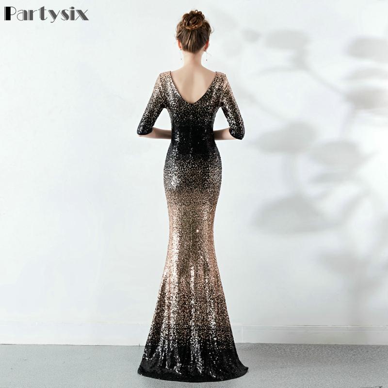Partysix Elegant Sequins Dress Half Sleeve Evening Party Long Dress 3