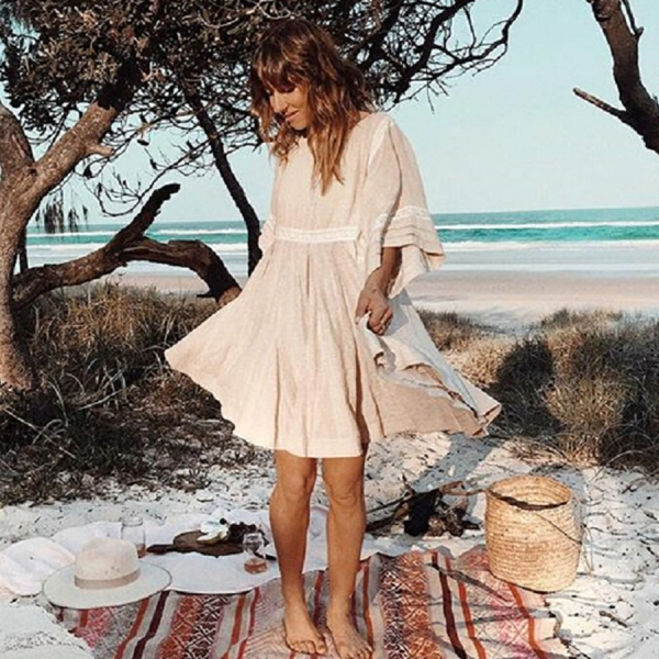 TEELYNN cotton & linen tunic mini dresses boho solid dress o-neck loose short summer dresses beach Gypsy dress women vestidos