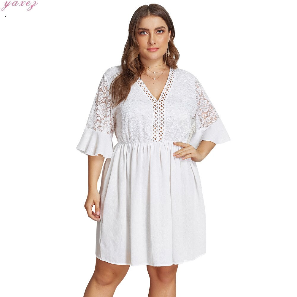 XL-4XL Big Size Lace Half Sleeve Dress Women Casual Solid White Beach Dress 19 Summer Sexy V-neck Hollow Out Mini Dresses 3