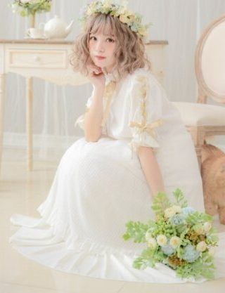 Princess sweet lolita dress Dolly Delly Japanese sweet soft sister dress stripe mesh Lolita half sleeves Dress Dolley-00148