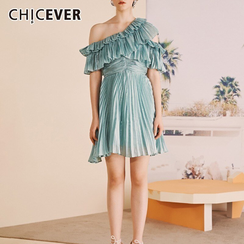 CHICEVER Blue Casual Solid Ruffles Women Dress Off Shoulder Half Sleeve High Waist Mini Pleated Dresses Female Fashion 19 New 1
