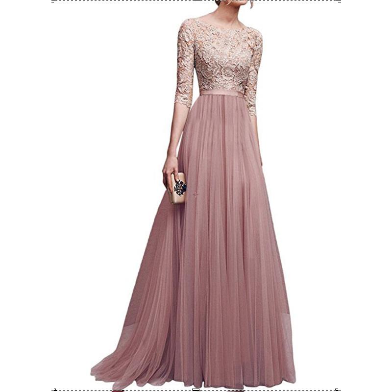 New Elegant Women Dresses Chiffon Female Floor-length Half Sleeve Maxi Dress Women Evening O-Neck Party Dresses 1