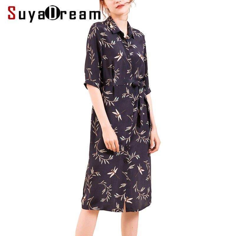 Women Silk dress 23mm 100% Real silk Printed Knee length Heavy Silk Crepe Half sleeved Dresses for Women 18 Fall Winter New 1