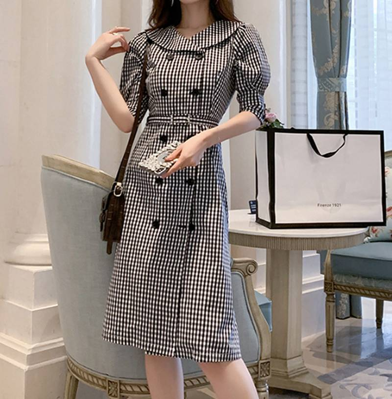 19 autumn Korean Double Breasted Plaid Dresses Women Gray Ruffles Bodycon OL Dress Fashion Half Sleeve dresses 2