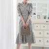 Vintage Double-breasted Suit Collar Plaid Dress Women Summer Half Sleeve Sashes Dresses Elegant Office Ladies Dresses vestidos