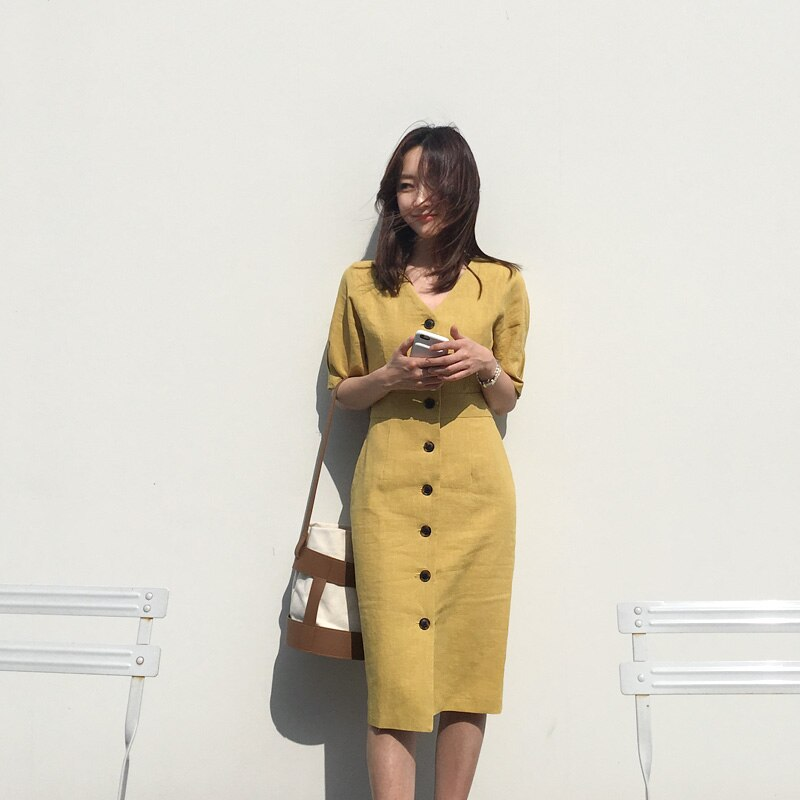 New Summer Dress Women Cotton Linen OL Casual Half Sleeve Dresses Female Dress V neck Solid Yellow Dress Boho Robe Femme Vestido 1