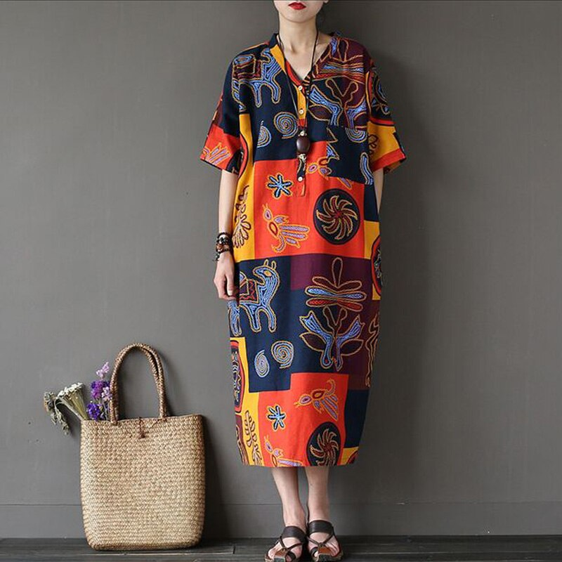 Women Summer Dress 17 New Fashion Women Dress Robes Print Flower Dress V-Neck Half Sleeve Loose Casual Plus Size Dress