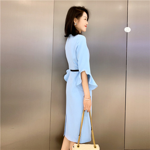 Spring Dress Women Designer Dresses Runway 19 High Quality Fashion Luxury Solid Sky Blue Half Sleeve Pencil Dress Robe Femme 2
