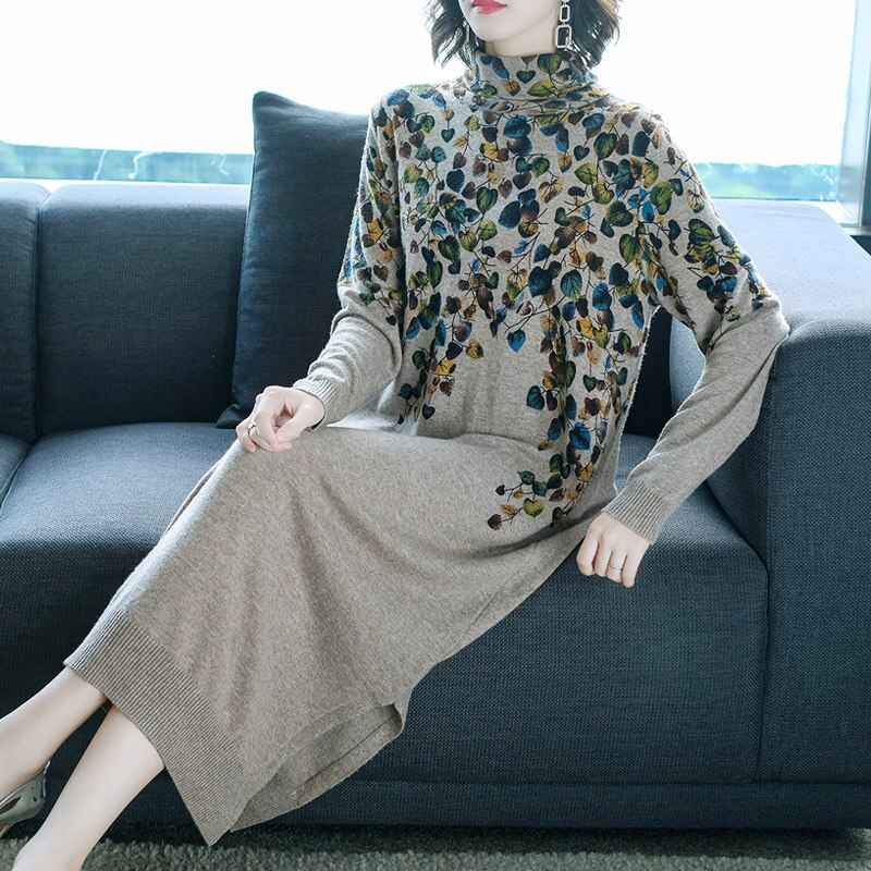 New Women Sweater Dress Half Turtleneck Long Sleeve Print Knitting Dress High Quality Female Straight Winter Knitted Dresses 1