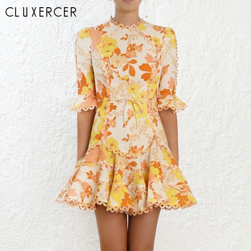 19 New Summer Yellow Print Flower Half Sleeve Mini Dresses For Women Sexy Hollow Out Bodycon Casual Beach Dress