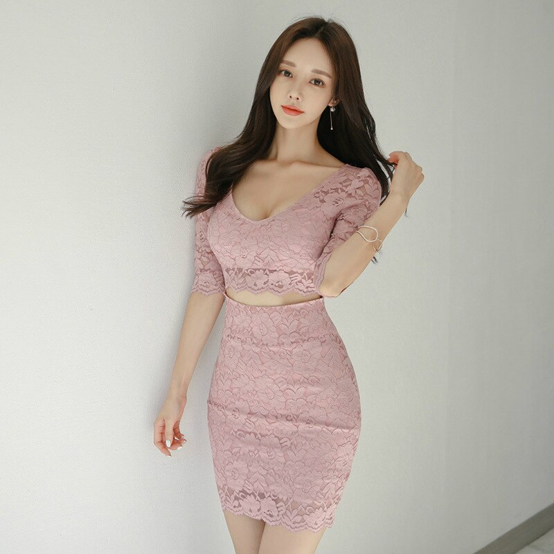 S-XL Plus Size Half Sleeve Sexy Party Dress Women Solid Hollow Out Mini Wrap Fall Dress Womens Autumn Pink Lace Dress for Ladies 3