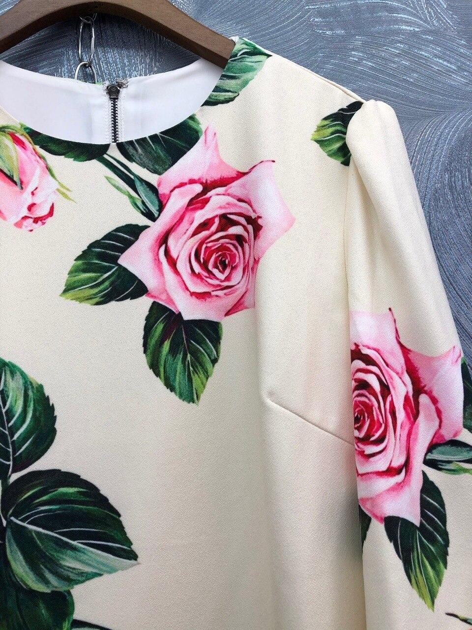 Spring summer runways floral print half sleeve sweet dress Fashion women's elegant dress B229 3