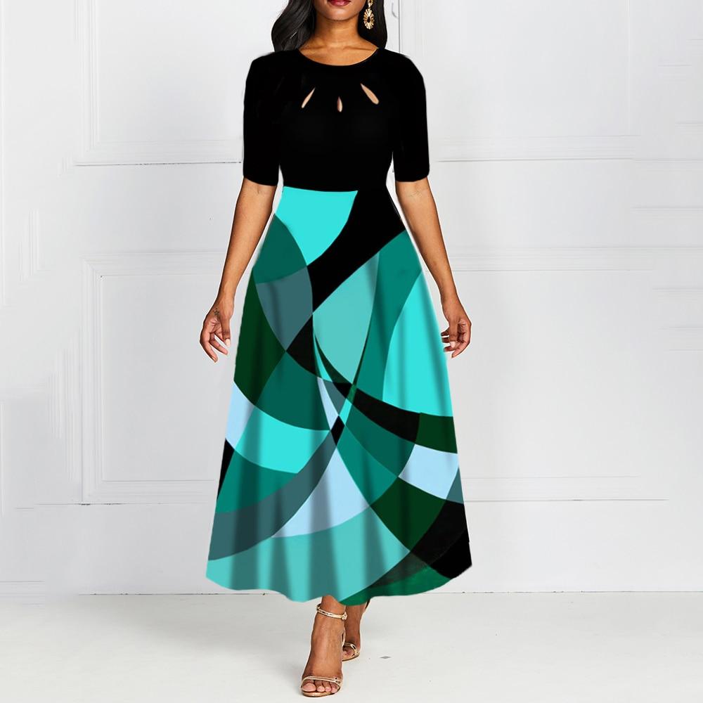 Half Sleeve Round Neck Bowknot Vintage A Line Printing Women Maxi Dress Standard-Waist Dress 19 Autumn Dress 1