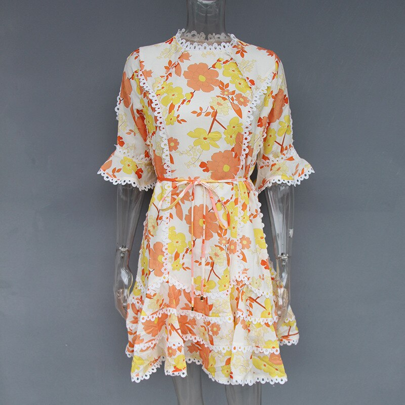 19 New Summer Yellow Print Flower Half Sleeve Mini Dresses For Women Sexy Hollow Out Bodycon Casual Beach Dress 3