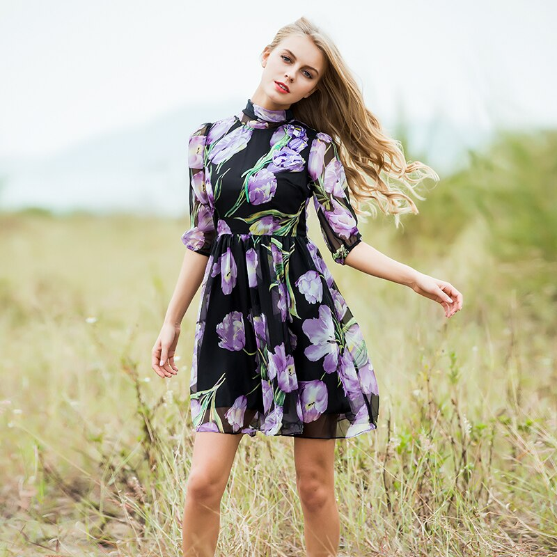 Fashion Dress Summer Spring New Women's 17 New Half Lantern Sleeve Purple Flowers Printed Emrboidery A-line Dress 2