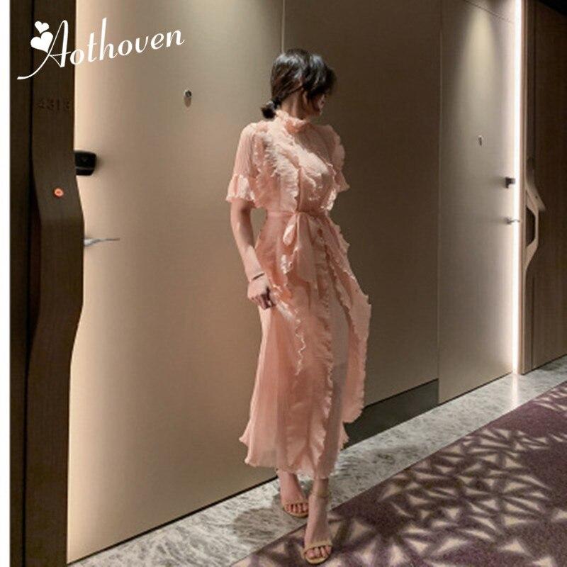 Summer High-end Women Dresses Stand-up Collar Half Sleeve Ruffles Dress woman Bandage Sexy Party Dress Ladies Elegant Vestidos