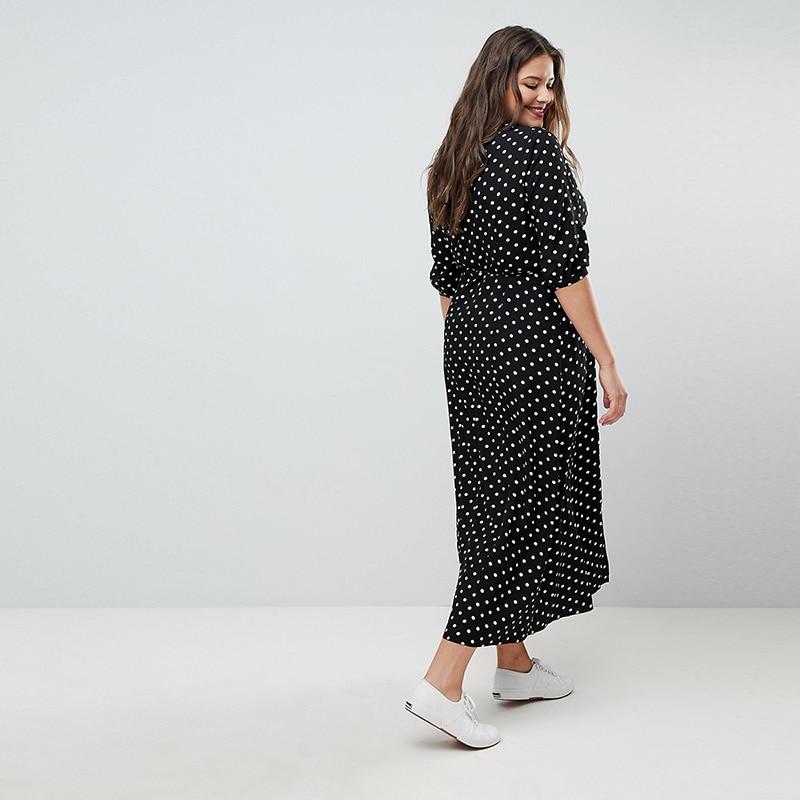 Kissmilk 19 Summer Office Polka Dot Vintage Autumn V-Neck Elegant Sundress For Women Plus Size Midi Half Sleeve Dress Female 1