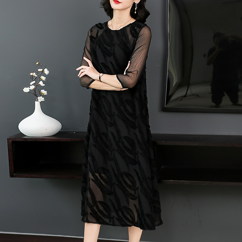 Plus Size Women Clothing Autumn Dresses Fashion Back Lace Casual Costume Lady Half Sleeves A-Line Dress Office Lady Dress 3