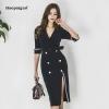 Plus Size Pencil Dress 18 Women Blue Half Sleeve Notched Knee-length Korean Work Suit Dress Autumn Wrap Button Dresses Ladies