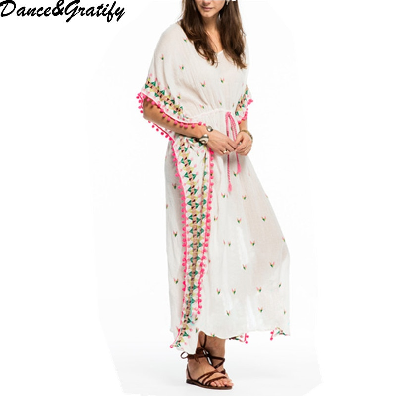 Embroidery Floral Half Sleeve Midi Fall Dress V Neck Sexy Bohemian Casual Spring Women Drawstring Tassel Tunic Dress 1
