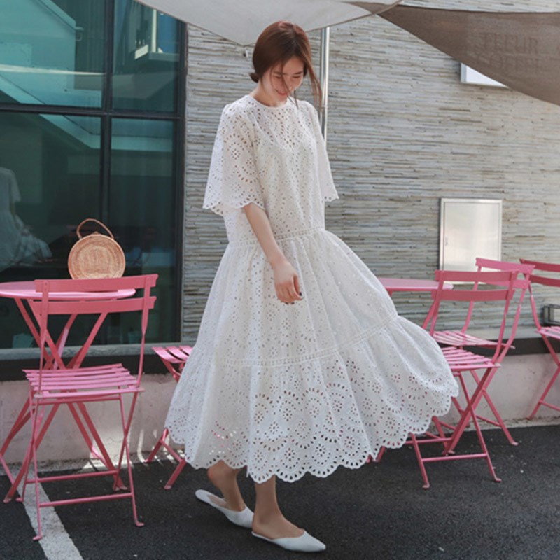19 Summer Women Casual Half Sleeve Loose Dress Solid Oversize Big Hem Hollow Out Maxi Dresses Elegant White Long Dress 2