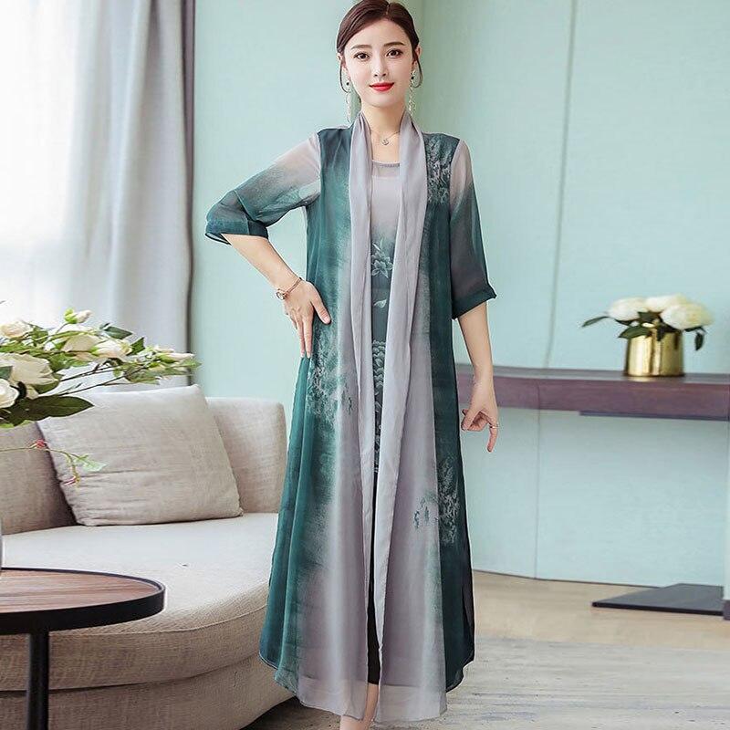 Summer New Women Two Piece Dresses 19 Plus Size Loose Vintage Chiffon Dresses Female Print Half Sleeve Long Dresses LJ2417 1