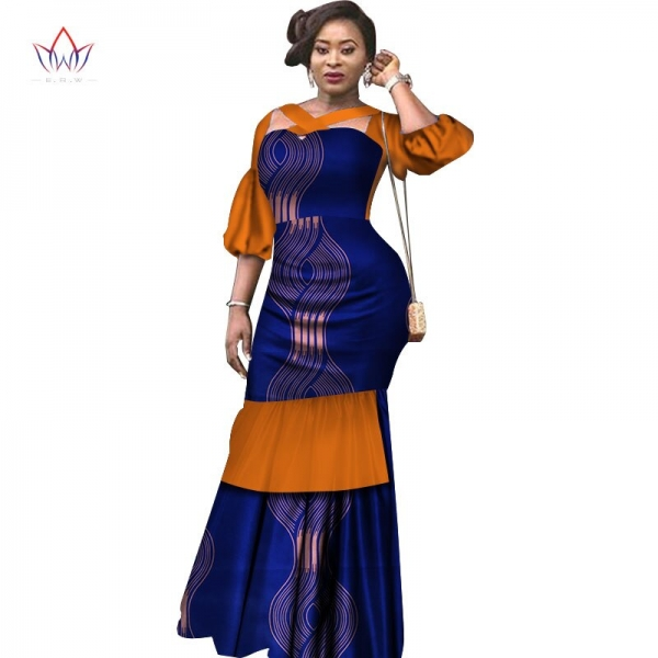Summer Dress African Fabric Dashiki Print Dresses Half Puff Sleeve Mermaid Dress Maxi Dress Women Plus Size Clothing 6XL WY2465