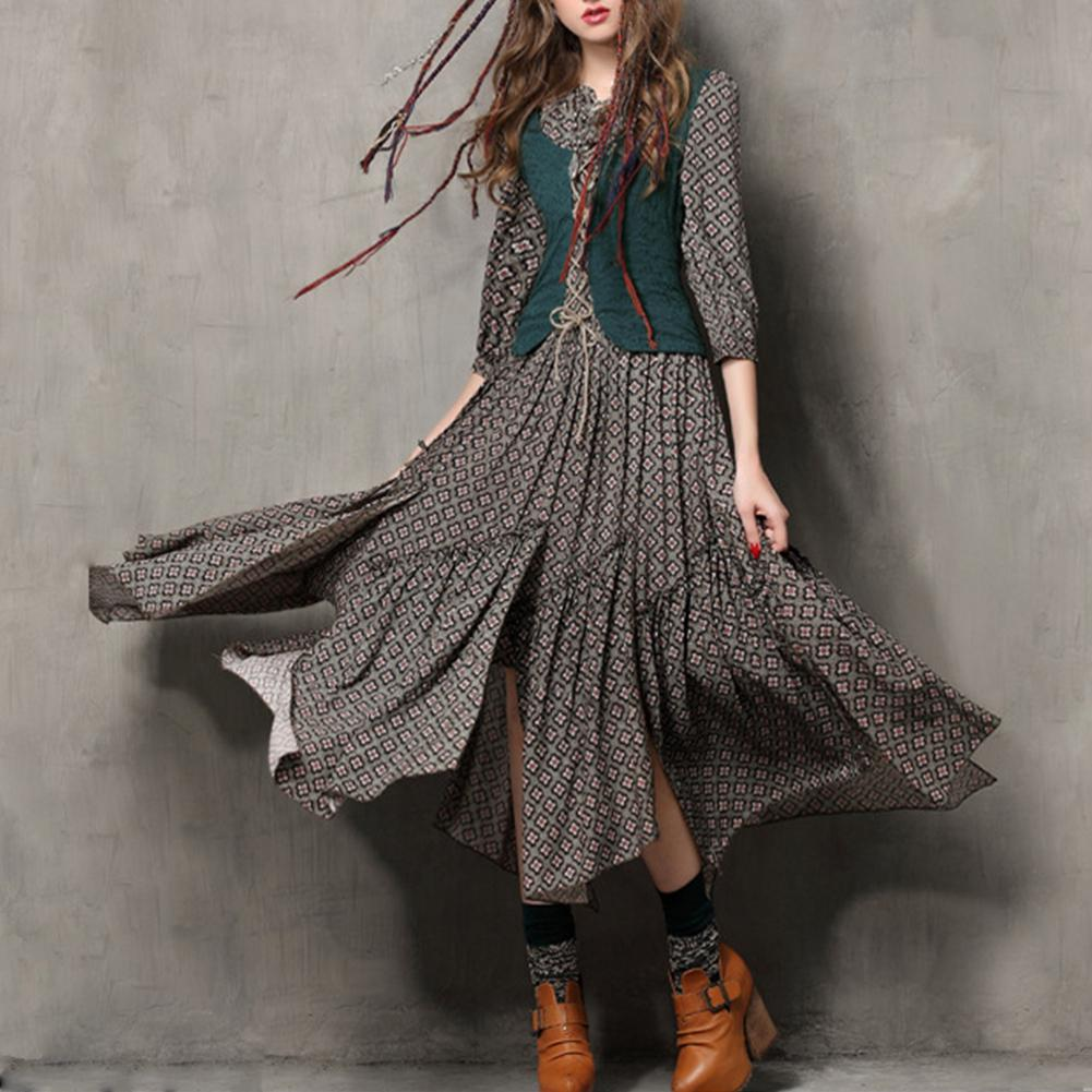 MISSKY Women Summer Dress Floral Printing Retro Button Embroidered Half Sleeve Slim Dress Female Clothes 2