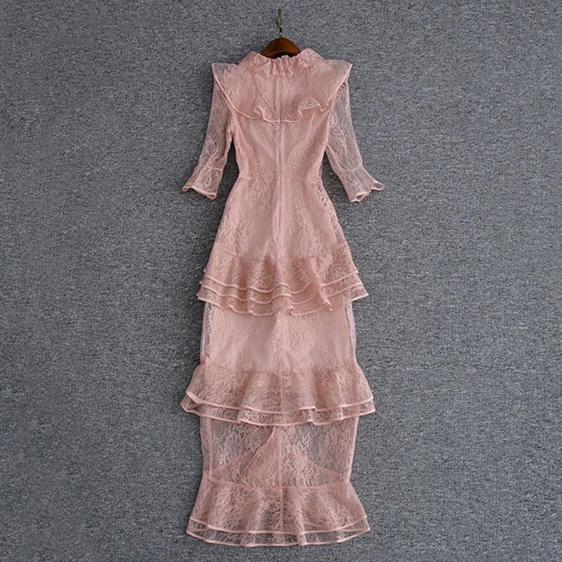 pink maxi lace dress o-neck ruffles half sleeve mulit-layer Fish tail dress ladies party dress fast shipping 3
