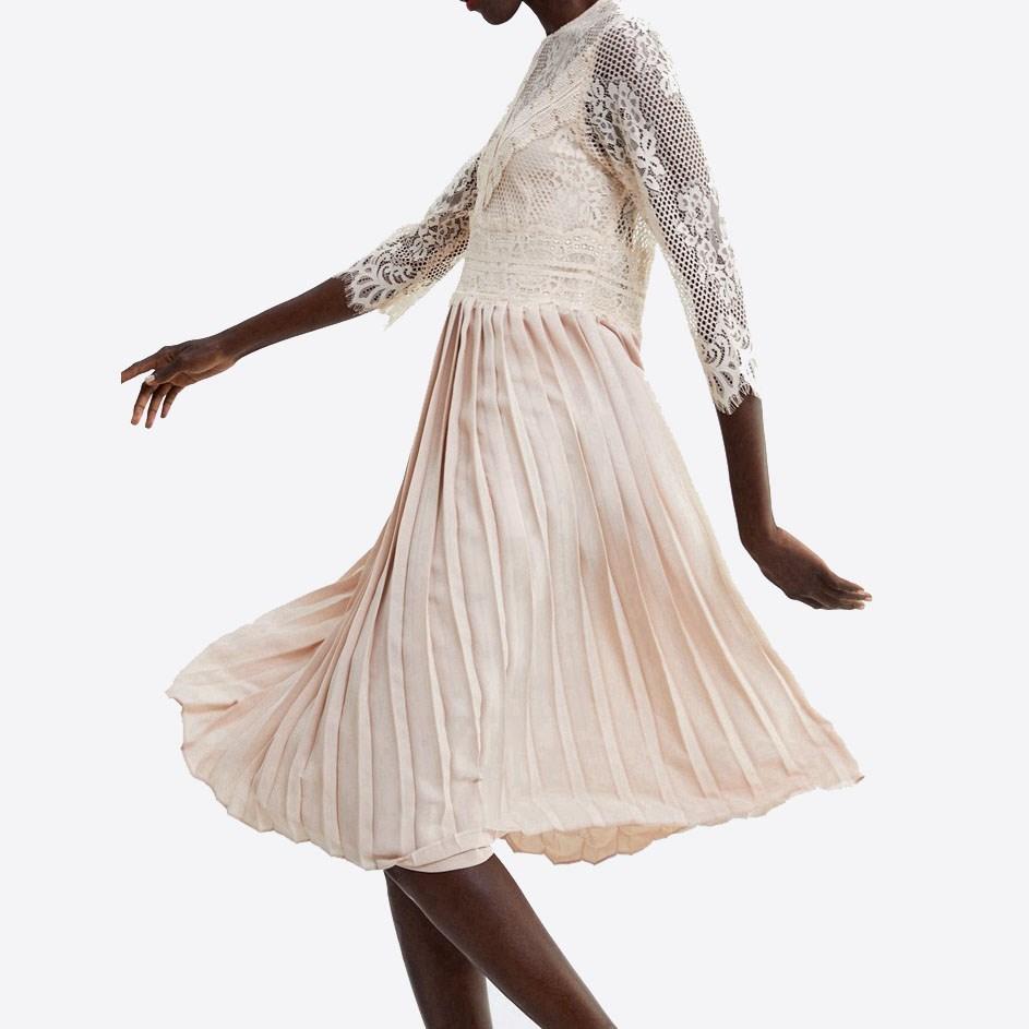 Women Fashion Half Sleeve Dress Lace Mid-Calf Femme Dress Vestidos Robe Solid O Neck Pleated Dress 1