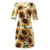 New 19 autumn winter women elegant party dress night jacquard floral beading a-line half sleeve elegant yellow dresses