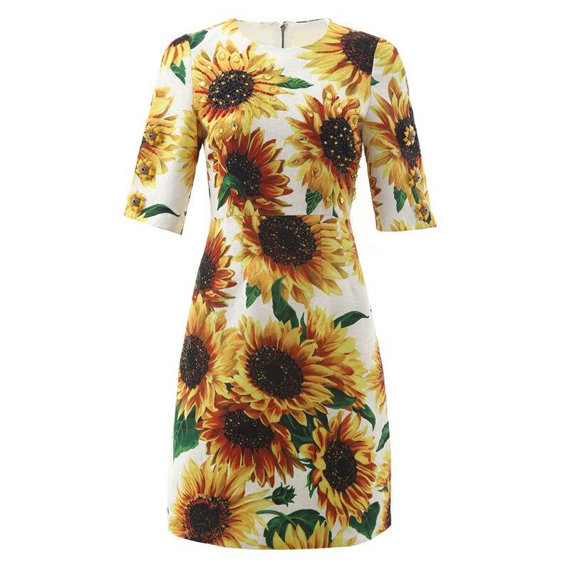 New 19 autumn winter women elegant party dress night jacquard floral beading a-line half sleeve elegant yellow dresses