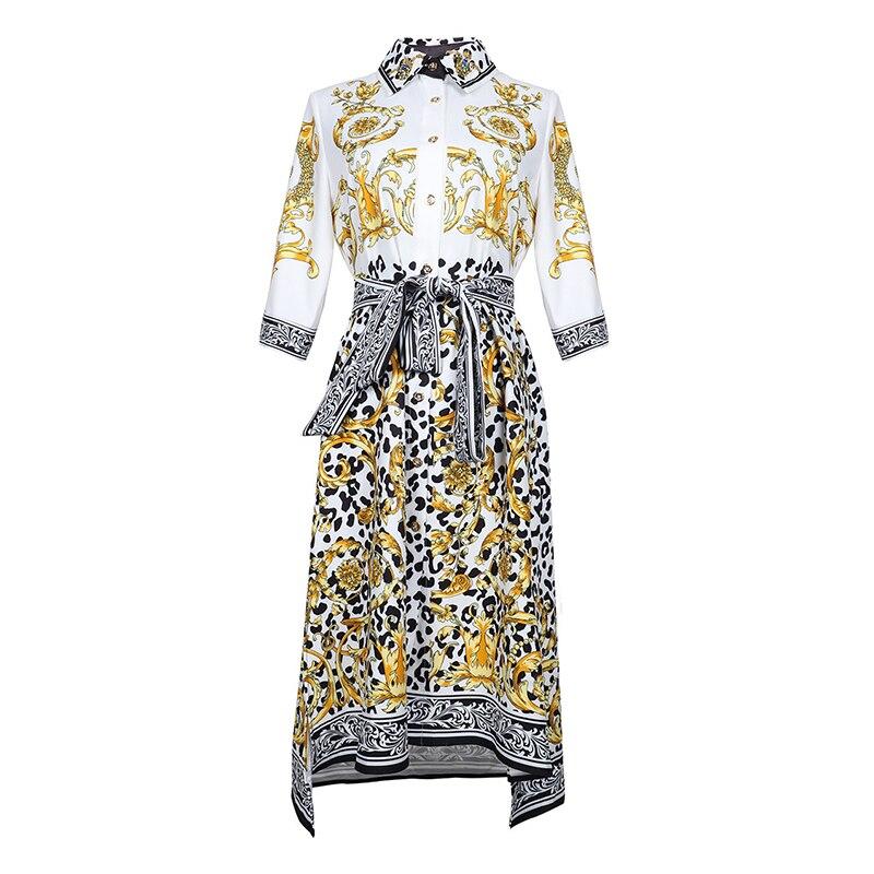 HIGH QUALITY New Fashion 19 Designer Runway Dress Women's Half Sleeve Retro Floral Print Dress 1