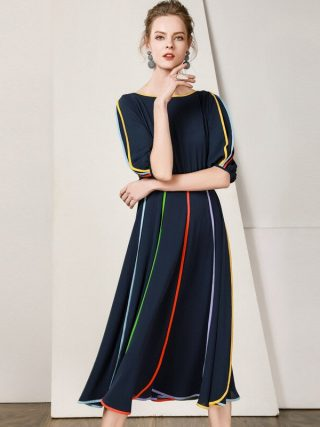 19 New Women Midi Dress O-Neck Half Sleeve A-line Dress Elegant Chiffon Dress Vestidos Femme Vintage Dress Fashion Streetwear