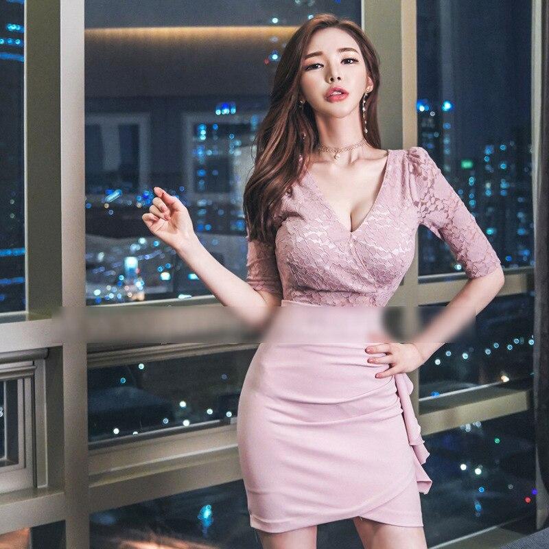 Plus Size Asymmetrical Dress 18 Autumn Women Pink Half Sleeve Lace V-neck Ruffles Sexy Club Short Dress Boho Dresses Vestidos 3